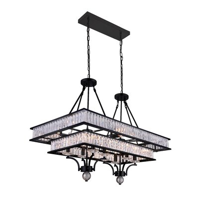 Shalia 16-Light Crystal Chandelier Finish: Black