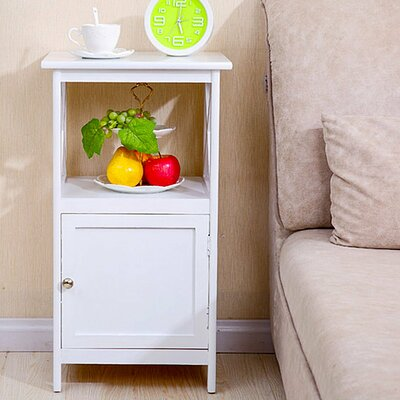 Deskins 1 Drawer Nightstand Color: White