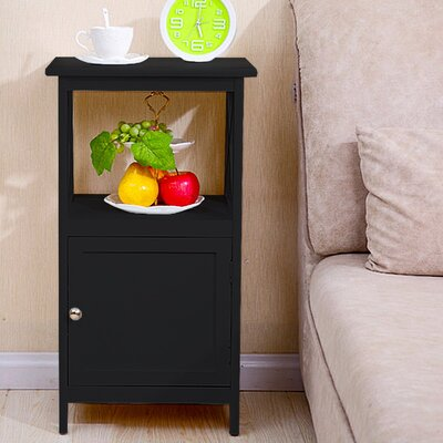 Deskins 1 Drawer Nightstand Color: Black