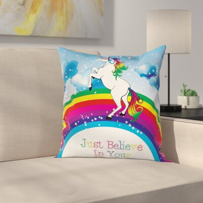Unicorn Rainbow Fantasy Cushion Pillow Cover Size: 18 x 18