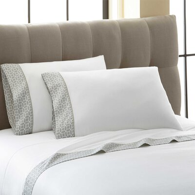 Cramer Octagonal Printed Cuff 300 Thread Count 100% Cotton 4 Piece Sheet Set Size: Queen