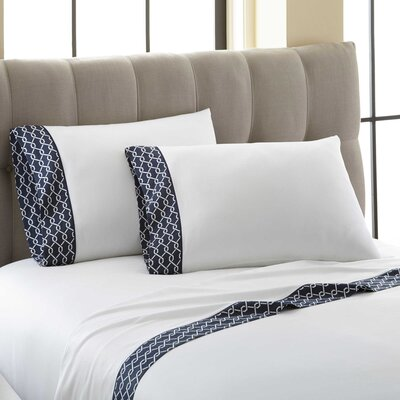 Cramer Off the Chain Printed Cuff 300 Thread Count 100% Cotton 4 Piece Sheet Set Size: King