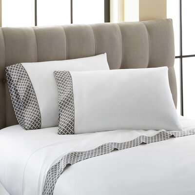 Cramer Quatrefoil Printed Cuff 300 Thread Count 100% Cotton 4 Piece Sheet Set Size: King