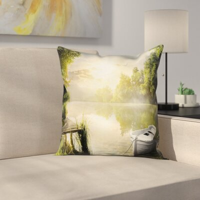 Boat by Foggy Lake Deck Square Pillow Cover Size: 18 x 18
