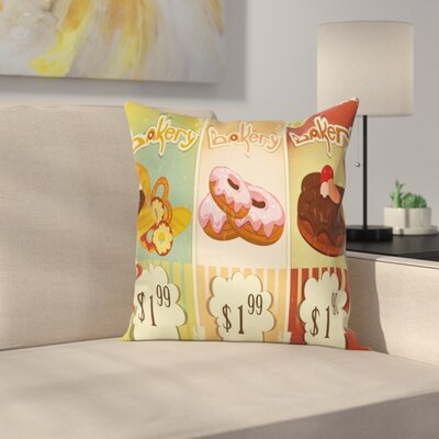 Bakery Shop Pastries Square Pillow Cover Size: 16 x 16