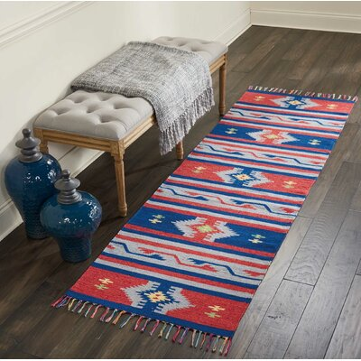 Rocky Hand-Woven Blue/Red Area Rug Rug Size: Runner 23 x 76