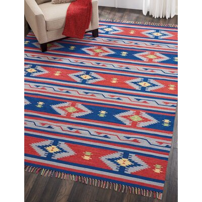 Rocky Hand-Woven Blue/Red Area Rug Rug Size: Rectangle 66 x 96