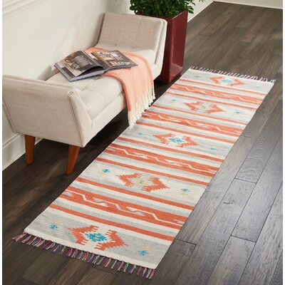 Rocky Hand-Woven Ivory/Gray Area Rug Rug Size: Runner 23 x 76