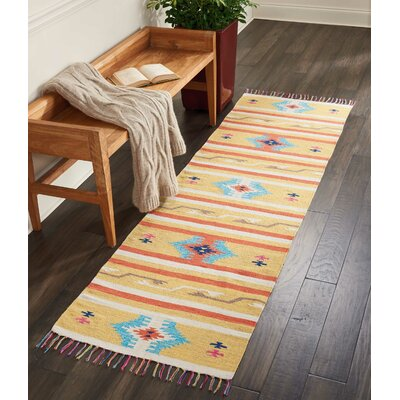 Rocky Hand-Woven Yellow/Blue Area Rug Rug Size: Runner 23 x 76