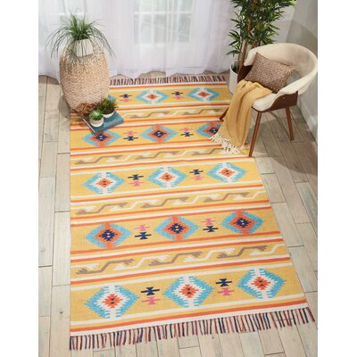 Rocky Hand-Woven Yellow/Blue Area Rug Rug Size: Rectangle 36 x 56