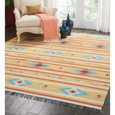 Rocky Hand-Woven Yellow/Blue Area Rug Rug Size: Rectangle 8 x 10