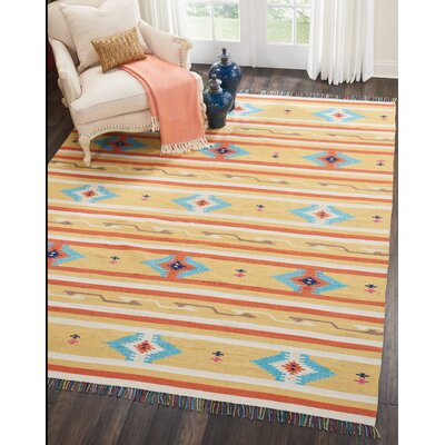 Rocky Hand-Woven Yellow/Blue Area Rug Rug Size: Rectangle 66 x 96