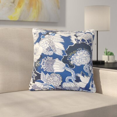 Summerall Floral Cotton Throw Pillow Color: Navy