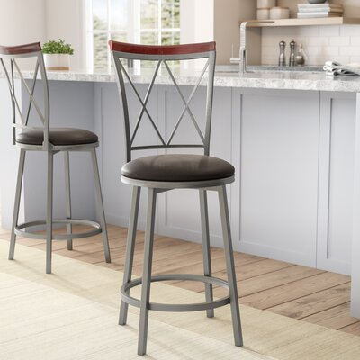 Valleyview 24 Swivel Bar Stool Upholstery: Espresso