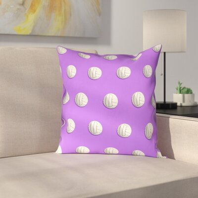 Volleyball 100% Cotton Pillow Cover Size: 14 x 14, Color: Pink/Purple