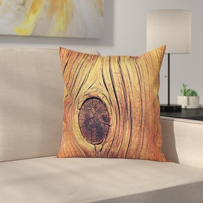 Rustic Aged Wooden Texture Square Pillow Cover Size: 16 x 16