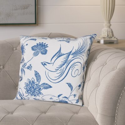 Cecilia Traditional Bird Floral Outdoor Throw Pillow Size: 18 H x 18 W, Color: Blue