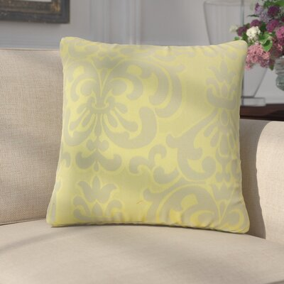 Anatolio Damask Cotton Throw Pillow Color: Lichen