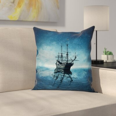 Pirate Ship Night Sky Ocean Square Cushion Pillow Cover Size: 18 x 18