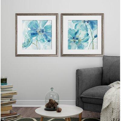 'Blue Spring Poppy I' 2 Piece Framed Print Set Format: Brown Framed 6548340D590246DF94DB5F33CEA4084F