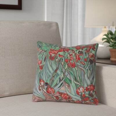 Morley Irises 100% Cotton Throw Pillow Size: 14 x 14, Color: Red