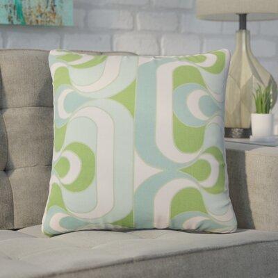 Wolfram Geometric Cotton Throw Pillow Color: Aqua/Green