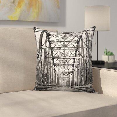 Metal Bridge Square Pillow Cover Size: 16 x 16