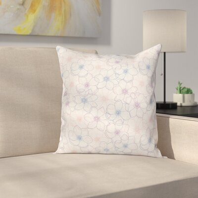 Anemone Pastel Petals Square Cushion Pillow Cover Size: 16 x 16