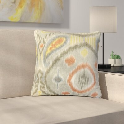 Rowsey Ikat Linen Throw Pillow Color: Gray