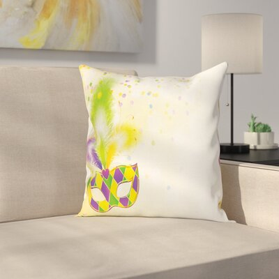 Mardi Gras Party Mask Confetti Square Cushion Pillow Cover Size: 24 x 24