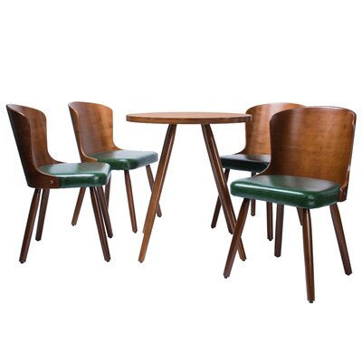 Linde 5 Piece Dining Set Color: Dark green
