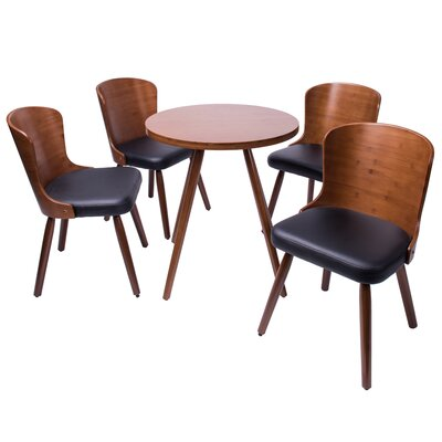 Linde 5 Piece Dining Set Color: Black