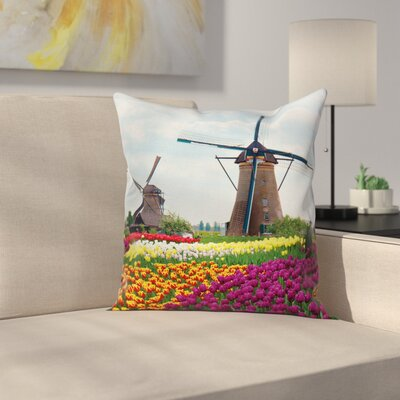 Windmill Decor Farm Country Square Pillow Cover Size: 18 x 18