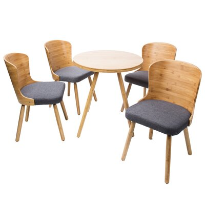 Linde 5 Piece Dining Set Color: Blue