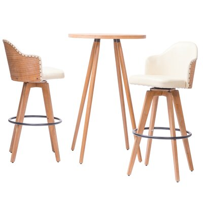 Lindeman Bamboo Swivel 3 Piece Pub Table Set Color: White