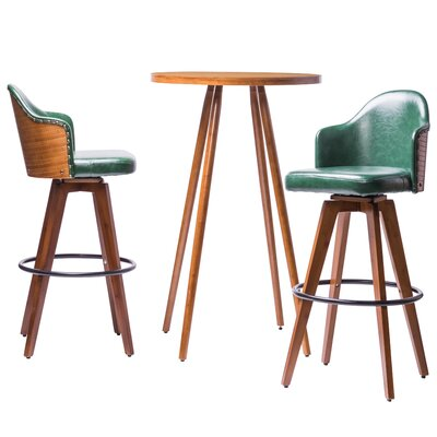 Lindeman Bamboo Swivel 3 Piece Pub Table Set Color: Dark green