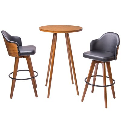 Lindeman Bamboo Swivel 3 Piece Pub Table Set Color: Black