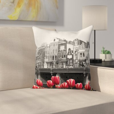 Amsterdam Canal Square Pillow Cover Size: 24 x 24