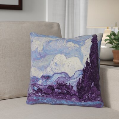 Morley Wheat Field with Cypresses Indoor/Outdoor Throw Pillow Size: 16 x 16