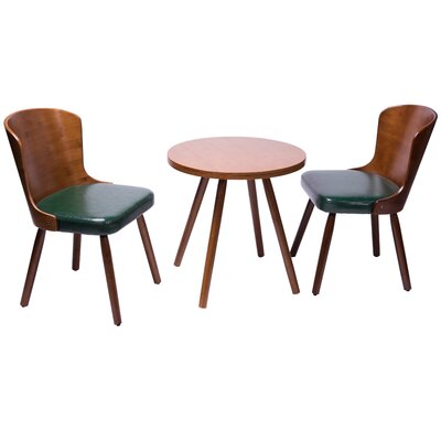 Lindauer 3 Piece Dining Set Color: Dark green