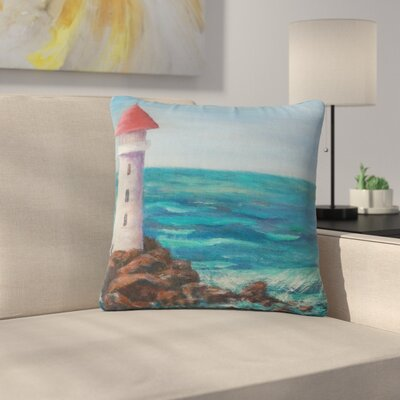 Cyndi Steen the Lighthouse Rocks Painting Outdoor Throw Pillow Size: 16 H x 16 W x 5 D