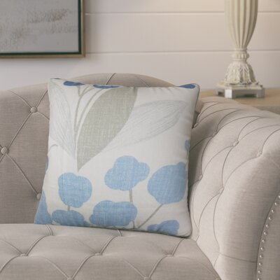Berkhamstead Floral Linen Throw Pillow Color: Blue