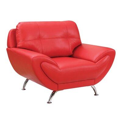 Diez Contemporary Armchair Upholstery: Red