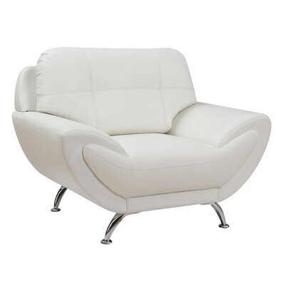 Diez Contemporary Armchair Upholstery: White