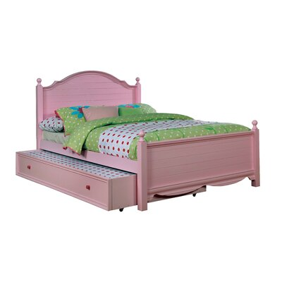 Contemporary Trundle Unit and Side Rail Size: Full, Bed Frame Color: Pink