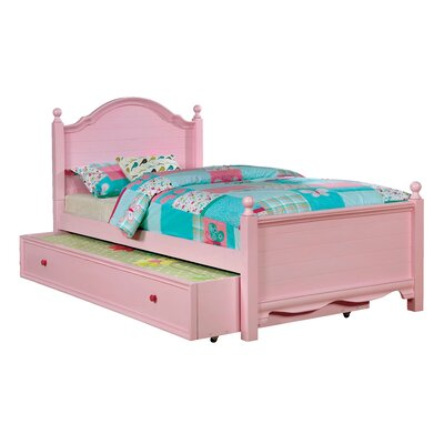 Contemporary Trundle Unit and Side Rail Size: Twin, Bed Frame Color: Pink