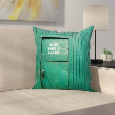 Vintage Back Door Theme Square Pillow Cover Size: 18 x 18