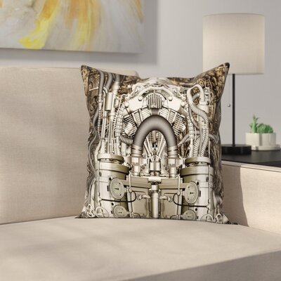 Motor Engine Photo Square Pillow Cover Size: 16 x 16