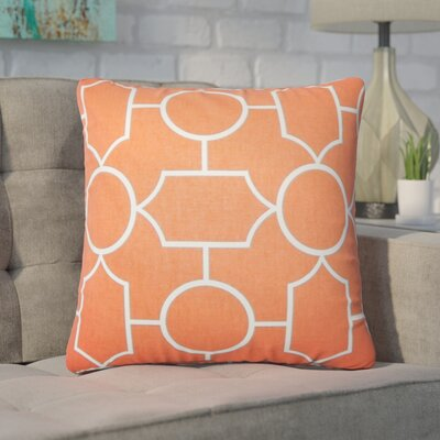Syrianus Geometric Cotton Throw Pillow Color: Papaya