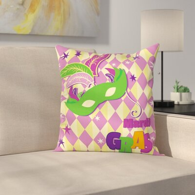 Mardi Gras Stars Graphic Mask Square Cushion Pillow Cover Size: 24 x 24